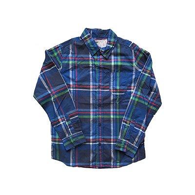 Camisa Okaidi Infantil Xadrez Azul