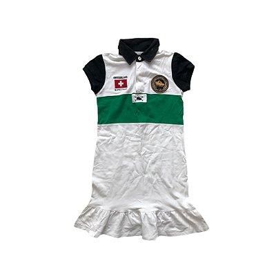 Vestido Ralph Lauren Infantil Branco com Faixa Verde