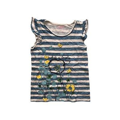 Camiseta OshKosh Infantil Listrada Azul e Branca sem Manga com Babados