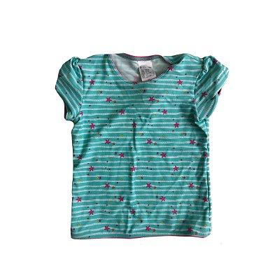 Camiseta Infantil Verde Agua com estrelinhas Rosa