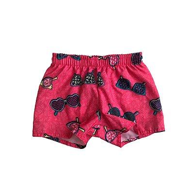 Shorts Marisol Pink com Desenhos de Óculos