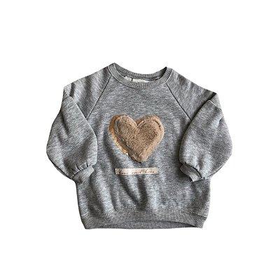 Moletom Zara Infantil Cinza com Coração Pêlo