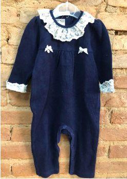 Macacão Valentina Infantil Azul Marinho em Tricô