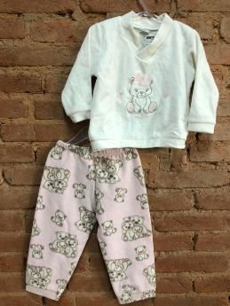 Pijama em Plush Ursinhos Rosa e Branco
