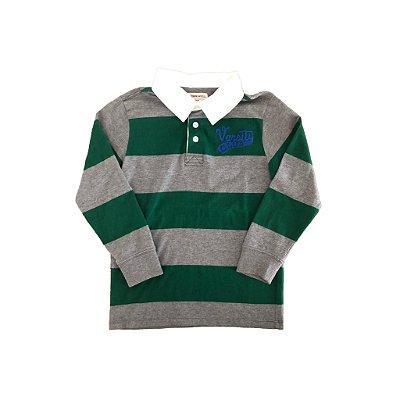 Camiseta Polo Manga Longa Oshkosh Infantil Listrada Verde e Cinza