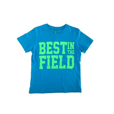 Camiseta Benetton Infantil Azul Turquesa e Verde