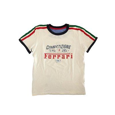 Camiseta Ferrari Infantil Branca com Listras Verde e Vermelha