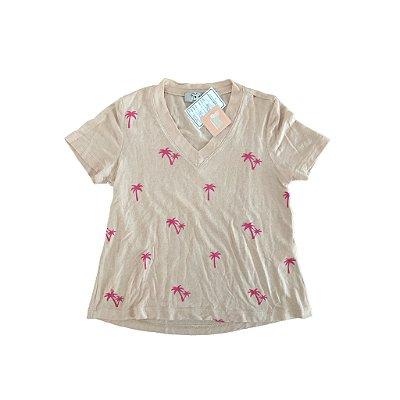 Camiseta Molinha Custom Your Tee Infantil Rosê com coqueiros