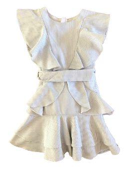 Vestido Paola Bimbi Listrado Branco e Azul