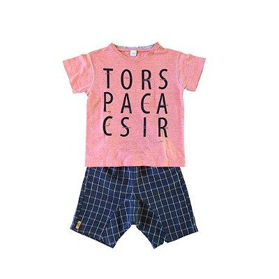 Conjunto Green Infantil Shorts Xadrez com Blusa Laranja