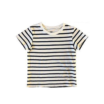 Blusa H&M Infantil Listrada Azul e Branca