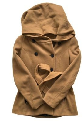 Casaco de Lã Zara Feminino com Capuz e Cinto Caramelo