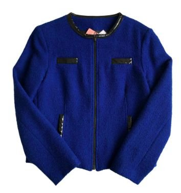 Casaco Alcaçuz Feminino Azul de Lã com Tecido Plástico Preto