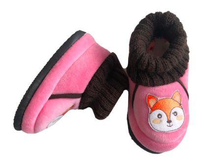 Pantufa Infantil Rosa e Marrom Raposa