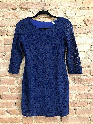 Vestido Danque Feminino com Renda Azul Marinho