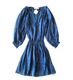Vestido CRIS BARROS Azul Petróleo Manga Longa Saia Bordada