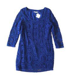 Vestido Shoulder Feminino Azul Marinho Manga Longa com Renda