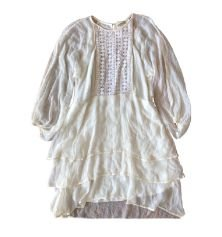 Vestido CRIS BARROS Off White de Seda com babados e Transparência