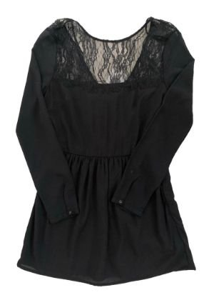 Vestido Zara Preto Manga Longa com Renda