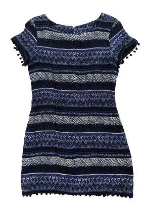 Vestido FARM Azul com Estampa Geométrica Tecido Grosso