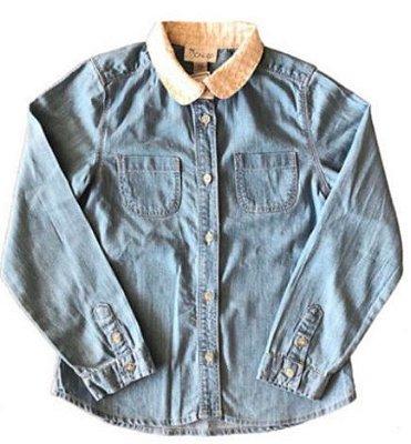 Camisa CHICCO Infantil Jeans com Gola Dourada