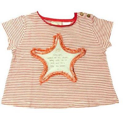 Blusa ZARA Infantil Vermelha e Branca Listrada Estrela
