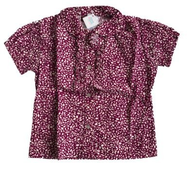 Camisa Ma Poupee Vinho e Branca Manga Curta