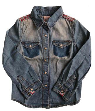 Camisa Jeans PUC Infantil com Bordado no Ombro