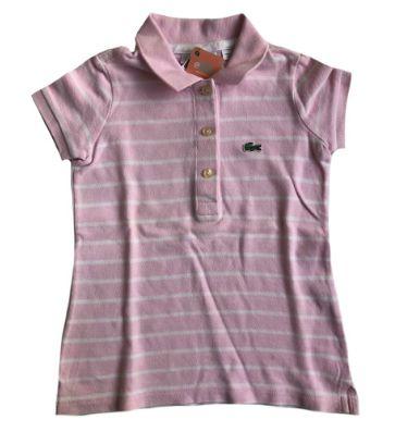 Camisa Polo LACOSTE Infantil Rosa Listrada