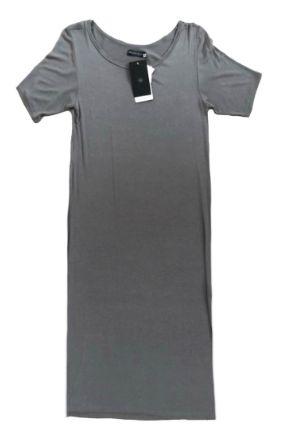 Vestido Santa Costura Feminino Cinza Longo