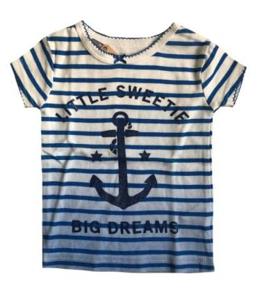 Camiseta CARTER'S Infantil Azul e Branca Listrada