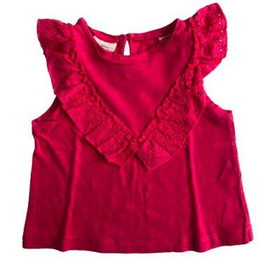 Camiseta ZARA Infantil Rosa com Lese