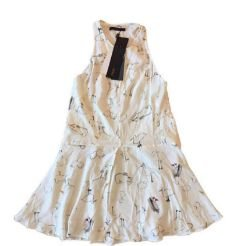Vestido ANIMALE Feminino Branco com Pássaros (Etiqueta)