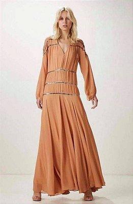 Vestido Animale Longo de Seda com Brilho com etiqueta
