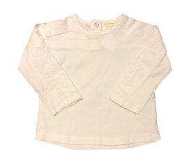 Camiseta ZARA Infantil Branca com Renda Manga Longa