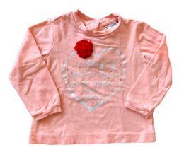 Camiseta CHICCO Rosa com Flor Vermelha Manga Longa