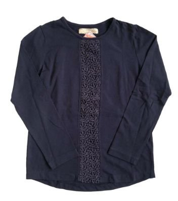 Camiseta ZARA Infantil Azul Marinho Manga Longa com renda