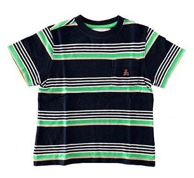 Camiseta GAP Infantil Azul Marinho com Listras