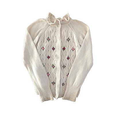 Casaco de Lã Chicco Bege com Apliques de Flores