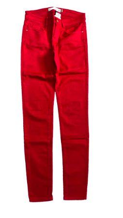 Calça ZARA Vermelha em Sarja