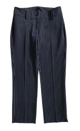 Calça Luigi Bertolli Azul e Branca Reta Listrada