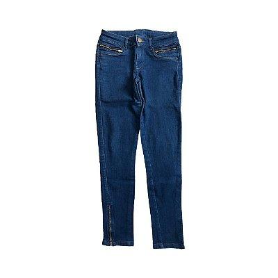 Calça BLUE STEEL Jeans Reta com Zíper em Barra