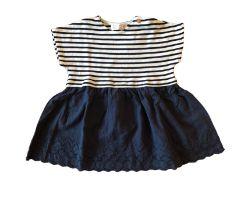 Vestido ZARA Infantil Azul e Branco Listrado