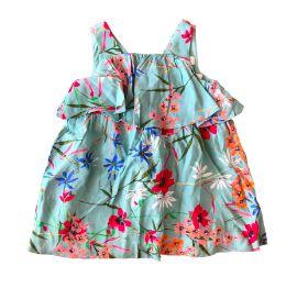Vestido ZARA Infantil Verde Água Florido