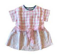 Vestido ZARA Infantil Rosa e Branco Xadrez e Listrado