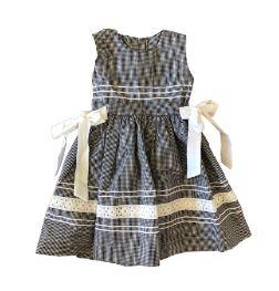 Vestido Infantil Preto e Branco Xadrez com Laços Laterais