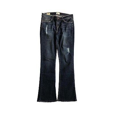 Calça Jeans ZARA Feminina Escura Destroyed