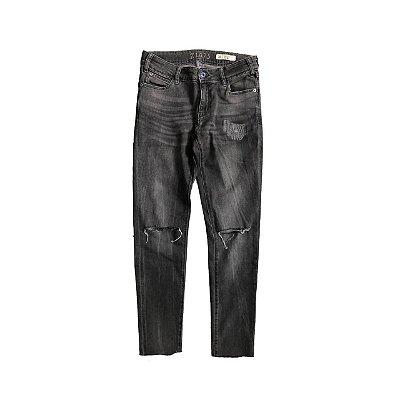 Calça Jeans ZARA Feminina Preto Rasgada no Joelho