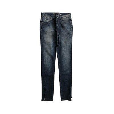 Calça Jeans SIBERIAN Feminina Escura com Zíper em barra