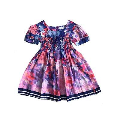 Vestido TYROL Estampa Aquarela Azul e Rosa